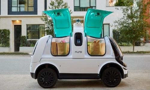 A Nuro delivery vehicle.